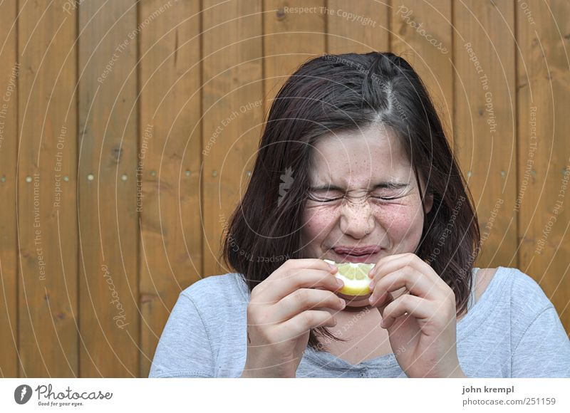 Human being Child Youth (Young adults) Joy Yellow Food Gray Head Eating Funny Brown Healthy Infancy Fruit Crazy Young woman
