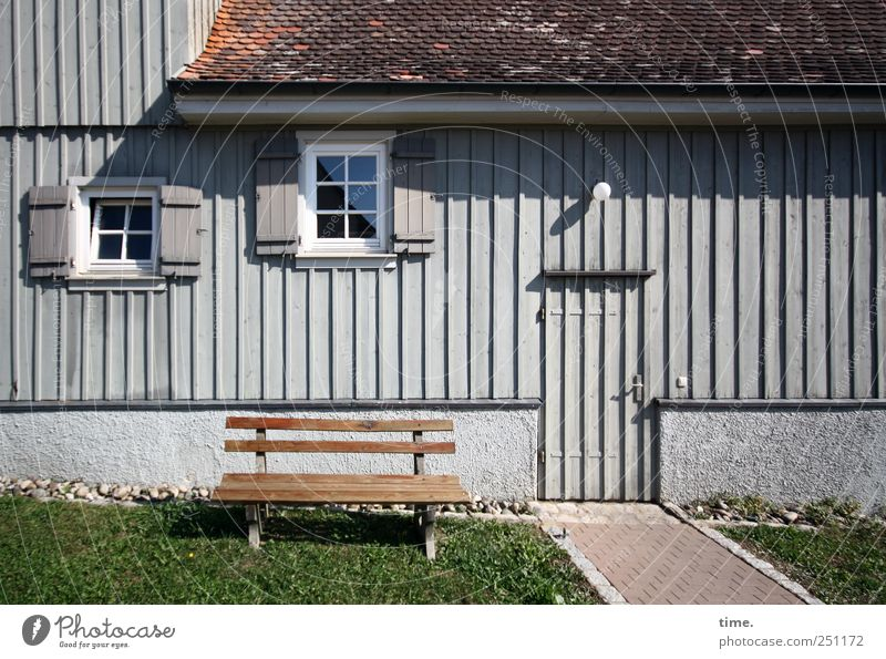 Presentation plate | ChamanSülz Relaxation House (Residential Structure) Meadow Facade Window Door Roof Lanes & trails Wood Sit Break Bench Restful window wing