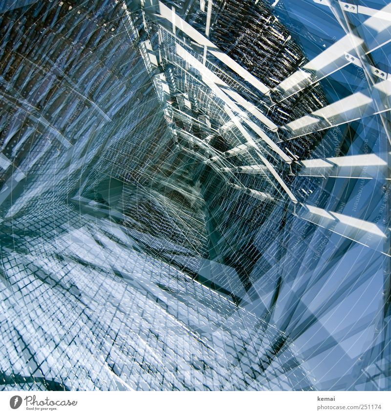 Blue Tall Crazy Tower Exceptional Many Manmade structures Steel Double exposure Grating Tourist Attraction Prop Lookout tower Metal grid