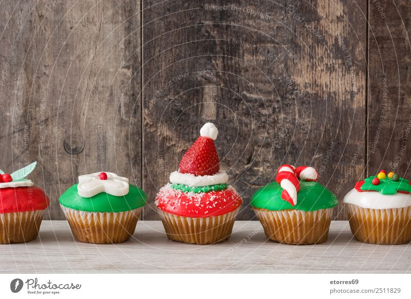Chirstmas cupcakes Food Dish Food photograph Baked goods Cake Dessert Healthy Eating Decoration Feasts & Celebrations Christmas & Advent Tree Ornament Sweet