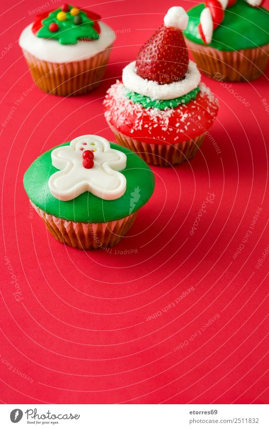 Chirstmas cupcakes Food Fruit Dessert Candy Winter Christmas & Advent Hat Good Sweet Green Red Food photograph Cupcake Muffin Santa Claus Baked goods Tasty
