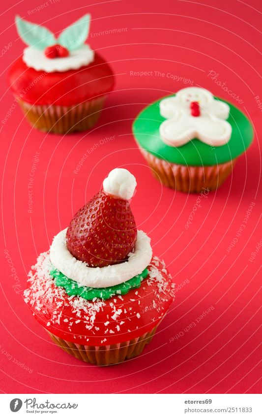 Christmas cupcakes on red background Christmas & Advent Cupcake Food Food photograph Sweet Candy Dessert Decoration Baked goods Icing Colour Green White