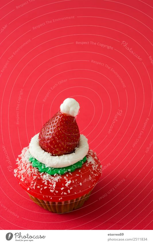 Christmas cupcake Food Fruit Dessert Candy Christmas & Advent Good Sweet Green Red Cupcake Muffin Santa Claus Hat Baked goods Tasty Strawberry Copy Space Sugar
