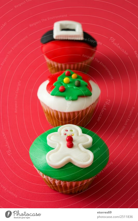 Chirstmas cupcakes Food Dish Food photograph Baked goods Cake Dessert Healthy Eating Decoration Feasts & Celebrations Christmas & Advent Tree Hat Ornament