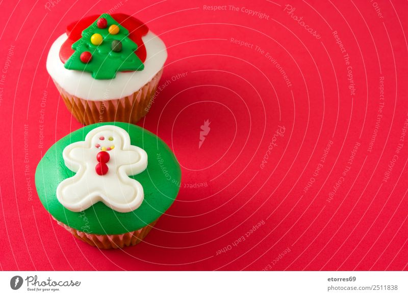 Chirstmas cupcakes Vacation & Travel Healthy Eating Christmas & Advent Colour Green White Red Food photograph Dish Feasts & Celebrations Decoration Sweet