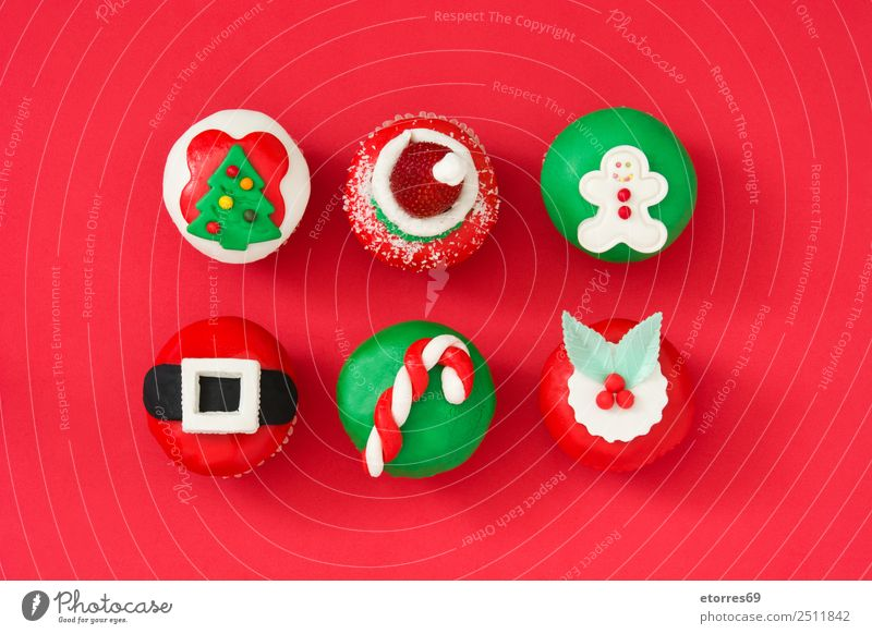 Assorted christmas cupcake Christmas & Advent Green White Red Food Nutrition Sweet Seasons Candy Tradition Christmas tree Cake Dessert Baked goods Santa Claus