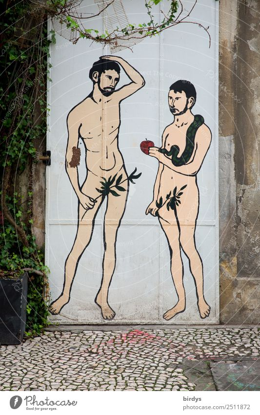 Human being Naked Eroticism Adults Graffiti Religion and faith Love Couple Exceptional Masculine Door Communicate Sex Authentic Apple Relationship