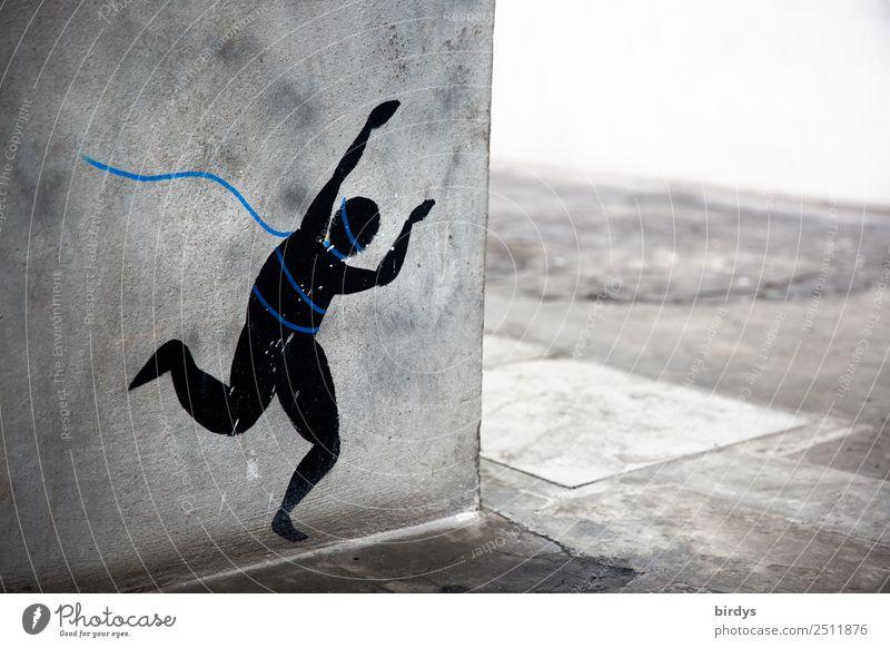 liberation Androgynous 1 Human being Wall (barrier) Wall (building) Corner Pedestrian Footpath Sign Graffiti Rope Running Threat Rebellious Blue Gray Black