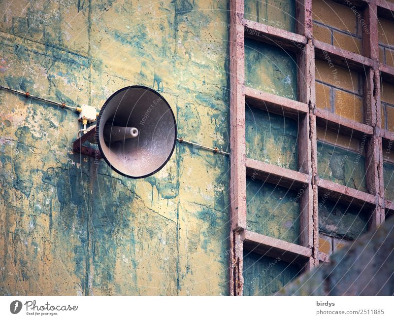 Announcement Industry Factory Manmade structures Facade Loudspeaker Communicate Scream Old Authentic Blue Yellow Gray Curiosity Testing & Control Nostalgia