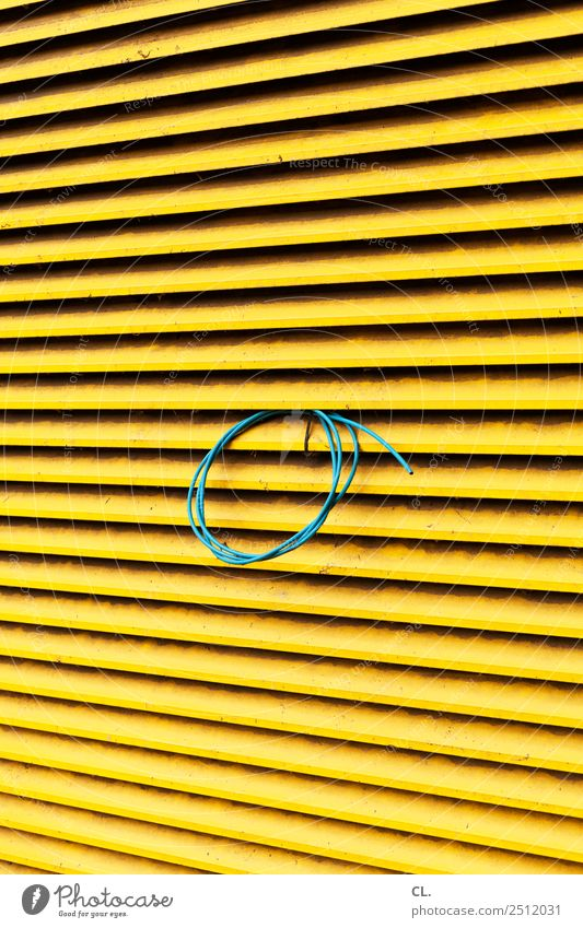 blue cable Construction site Cable Venetian blinds Roller blind Blue Yellow Complex Colour photo Exterior shot Abstract Pattern Structures and shapes Deserted