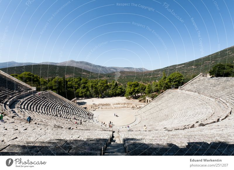 theatres Stage play Theatre Culture Plant Air Sky Cloudless sky Humble Pride Past Transience Epydaurus Antiquity Ancient Stands Far-off places Greece Society