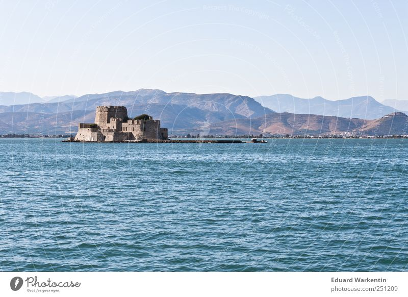 Venetian heritage Landscape Air Water Cloudless sky Beautiful weather Hill Mountain Waves Coast Ocean Mediterranean sea Safety Past Fortress Greece Peloponnese