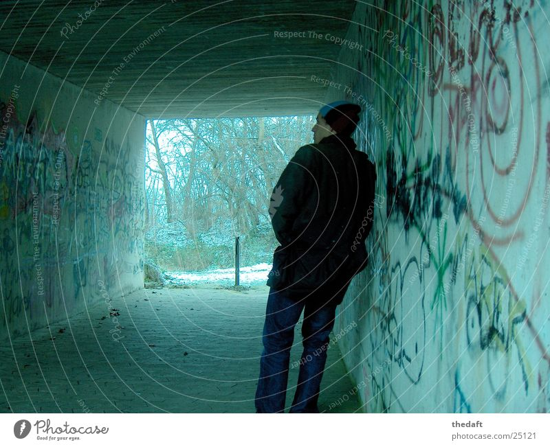 Human being Man Cold Snow Think Graffiti Underpass
