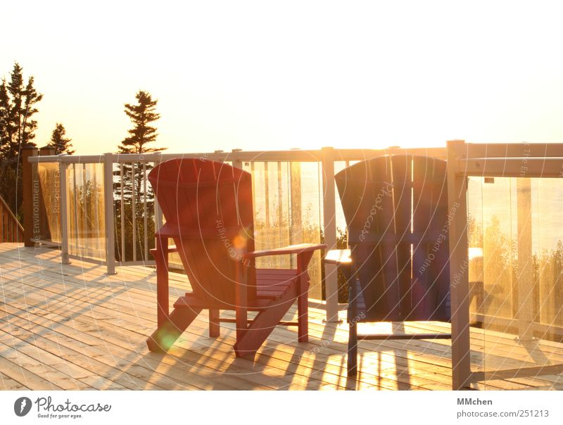 A place in the sun Summer Summer vacation Flat (apartment) Furniture Chair Terrace Balcony Handrail Cloudless sky Tree Garden Relaxation To enjoy Illuminate