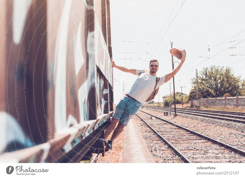 man traveling in train carriage Happy Vacation & Travel Business Human being Man Adults Transport Street Car Railroad Old Movement Modern White Dangerous
