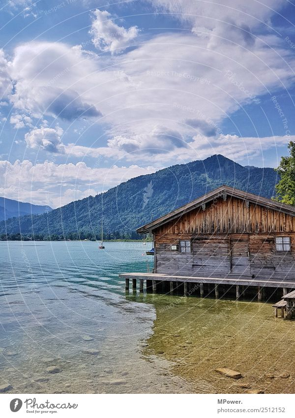 Cottage at the lake Environment Beautiful weather Old Hut Lake Tegernsee Bavaria Clouds Swimming lake Relaxation Vacation & Travel Recreation area Water