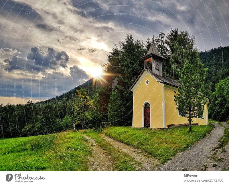 small chapel in the alps Landscape Beautiful weather Park Meadow Village Religion and faith Church Catholicism Parish church Parish hall Brook Alps Austria