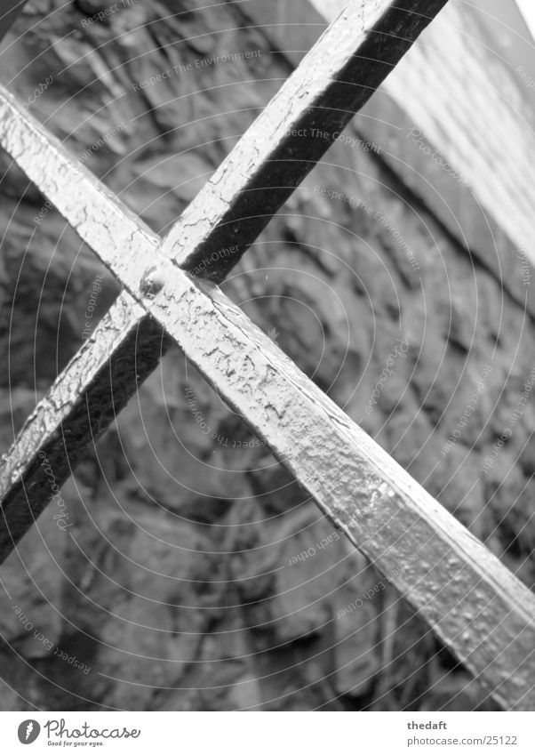 cross Wall (building) Light Rhine Grating Historic Macro (Extreme close-up) Close-up Metal Mixture Black & white photo Stone Gate Door