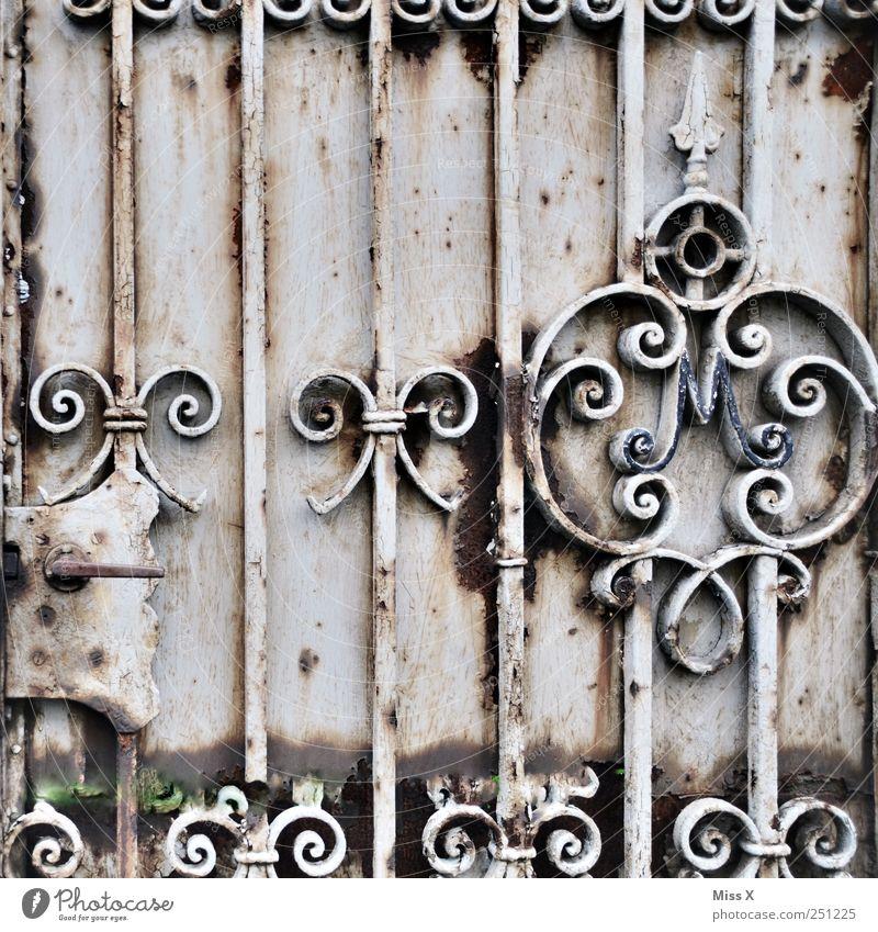 Old Metal Door Gate Rust Iron Door handle Bow Curlicue Door lock Wrought iron
