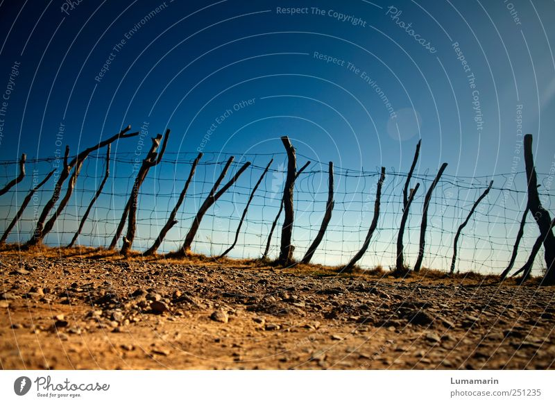 end area Environment Landscape Earth Cloudless sky Horizon Beautiful weather Poverty Simple Firm Long Natural Dry Blue Brown End Safety Far-off places Fence