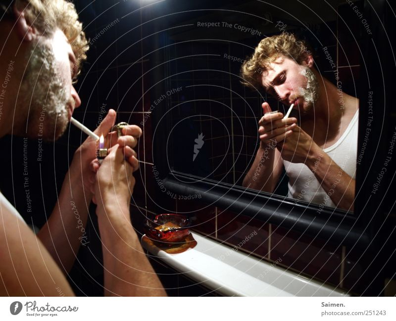 shave Human being Masculine Man Adults 1 Smoking Ashtray Fine rib Lighter Ignite Mirror Mirror image Bathroom Addiction Intoxicant Cigarette Facial hair Shave