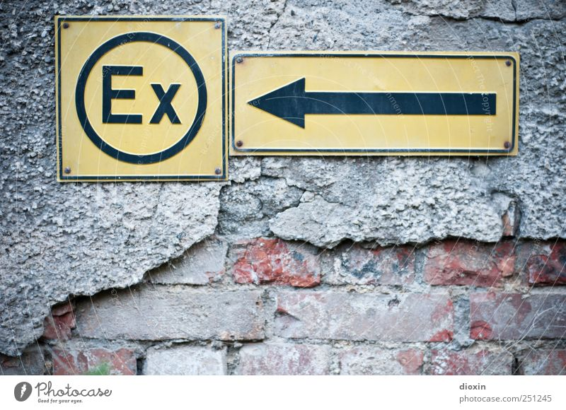 Wall (building) Wall (barrier) Signs and labeling Characters Signage Arrow Past Relationship Plaster Divide Warning sign