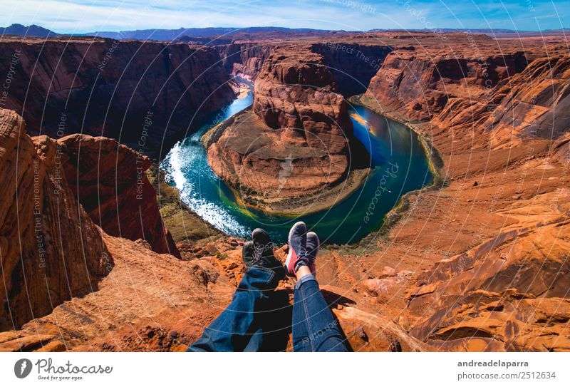 Sitting together at the edge of the Horseshoe bend Vacation & Travel Tourism Trip Adventure Freedom Sightseeing Camping Summer vacation Sun Sunbathing Mountain