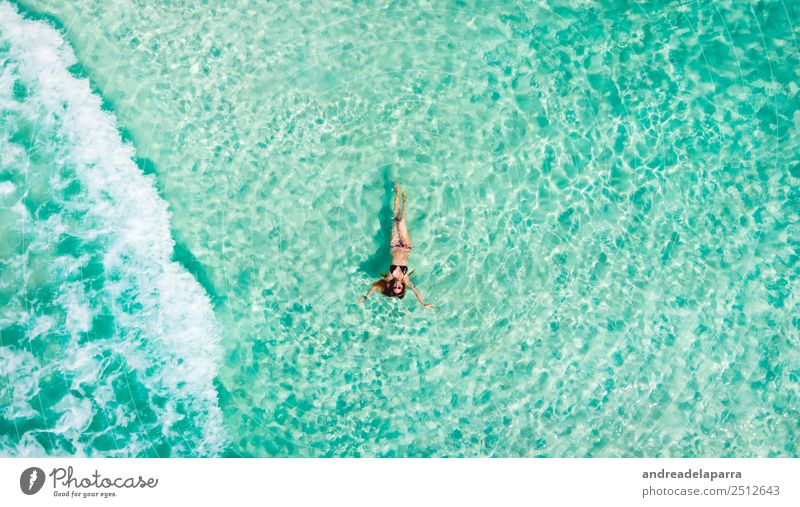 Floating in the Caribbean see Lifestyle Joy Body Athletic Relaxation Vacation & Travel Tourism Trip Freedom Summer vacation Sunbathing Beach Ocean Island Waves