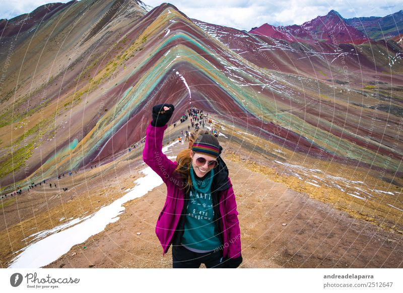 On the top of The Rainbow Mountain, Peru. Life Vacation & Travel Tourism Trip Adventure Freedom Expedition Winter Climbing Mountaineering Hiking Feminine