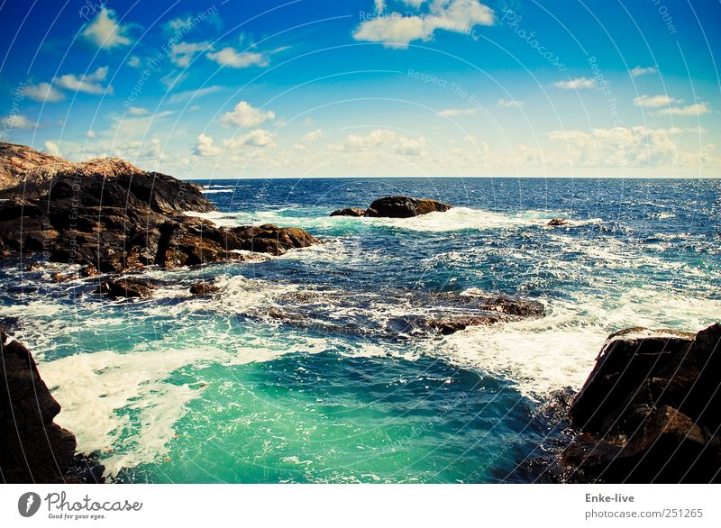 Sky Nature Water Blue Summer Ocean Loneliness Far-off places Life Environment Coast Earth Moody Waves Horizon Elegant