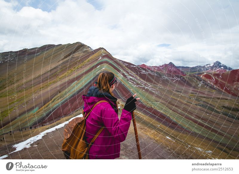 Woman on the top of the Rainbow Mountain, Peru. Human being Nature Vacation & Travel Youth (Young adults) Young woman Landscape Clouds Winter Far-off places