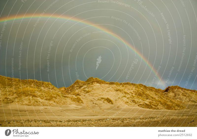 Spectrum Nature Landscape Sand Clouds Horizon Rain Beach Esthetic Beautiful Warmth Colour Rainbow Prism Round Beach dune Gold Pot Colour photo Exterior shot