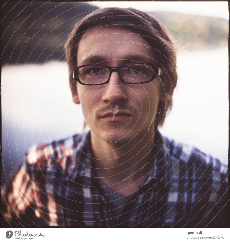 Human being Man Youth (Young adults) Beautiful Calm Face Adults Masculine Empty Eyeglasses Analog Shirt Facial hair Smiling Lakeside