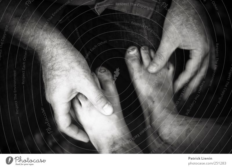 CHAMANSÜLZ | Healing Hands Human being Man Adults Fingers Feet 2 Black & white photo Child Children's foot To hold on Barefoot Investigate Dirty Men`s hand