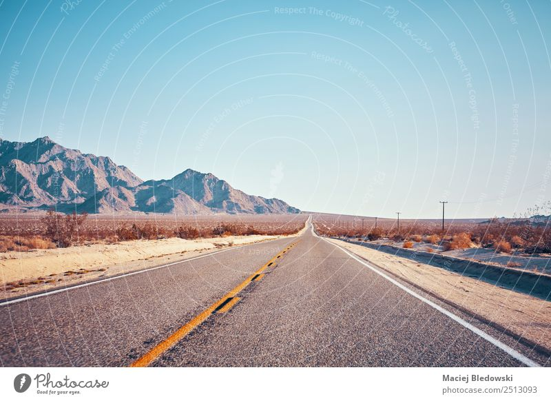 Retro stylized picture of a desert road, USA Vacation & Travel Trip Adventure Far-off places Freedom Expedition Mountain Landscape Sky Cloudless sky Horizon