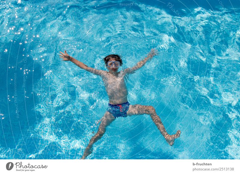 Child in the swimming pool, bird's eye view Joy Life Swimming pool Vacation & Travel Swimming & Bathing Dive Boy (child) Body 8 - 13 years Infancy Water Summer
