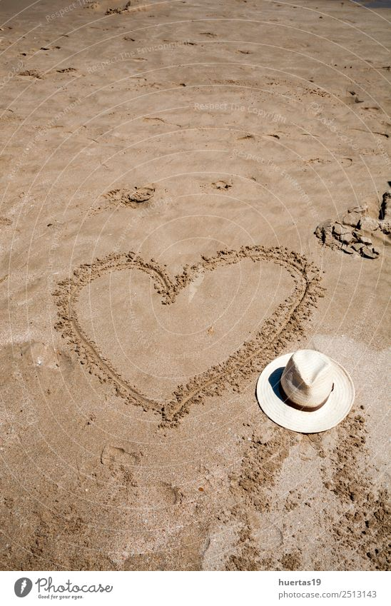 Heart on the beach Relaxation Vacation & Travel Tourism Beach Ocean Sports Nature Sand Coast Watercraft Sunglasses Scarf Slippers Hat Love