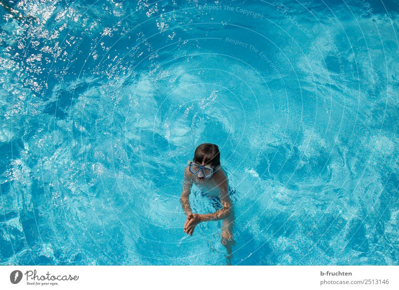 Child in swimming pool Life Swimming pool Swimming & Bathing Vacation & Travel Tourism Summer vacation Boy (child) Movement Stand Fresh Blue Turquoise Joy