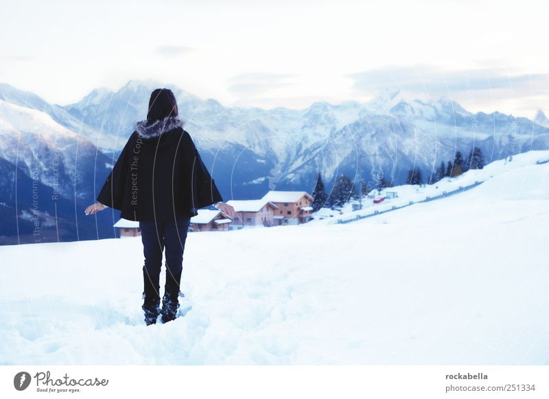 Woman Human being Youth (Young adults) Vacation & Travel Winter Feminine Adults Dream Elegant Esthetic Stand Hope Curiosity Alps Switzerland