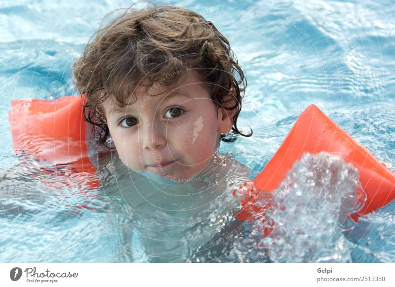 boy learning to swim Beautiful Swimming pool Playing Vacation & Travel Ocean Child Human being Baby Toddler Boy (child) Family & Relations Infancy Blonde Small