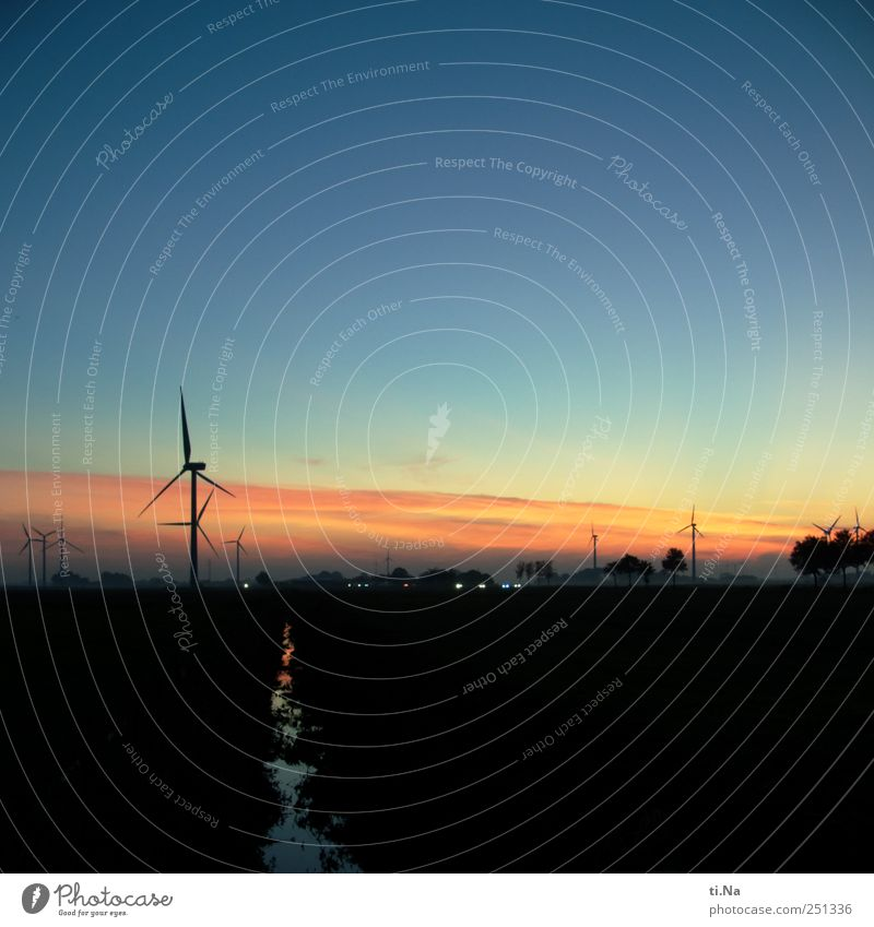 romantic wind turbines Wind energy plant Sunrise Sunset Beautiful weather Dithmarschen Illuminate Looking Stand Blue Yellow Gold Red Black Happy Horizon