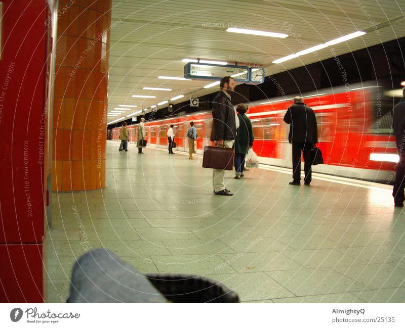 Movement Wait Transport Railroad Speed Station Underground Train station Frankfurt Bag Suitcase Human being Neon light Pedestrian Tram Hesse