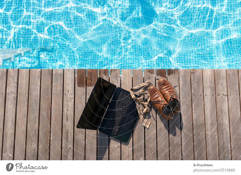 lunch break Swimming pool Vacation & Travel Summer Summer vacation Swimming & Bathing Office work Economy Business Notebook Tie Footwear Wood Fresh Healthy Joy
