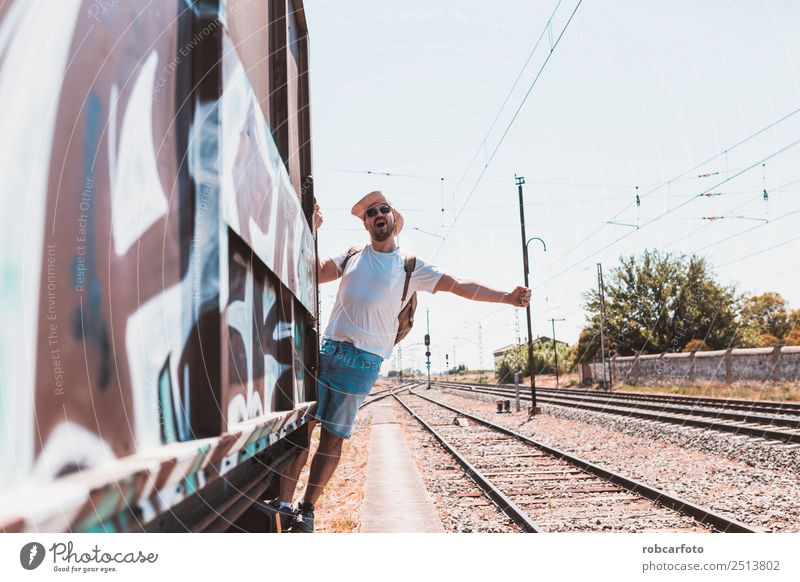 man traveling in train carriage Human being Vacation & Travel Man Old White Street Adults Movement Happy Business Car Transport Modern Open Dangerous Railroad