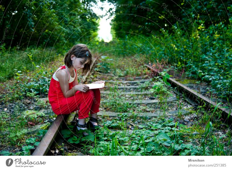 Human being Child Nature Tree Girl Summer Forest Landscape Grass Park Infancy Earth Wait Book Railroad Clothing