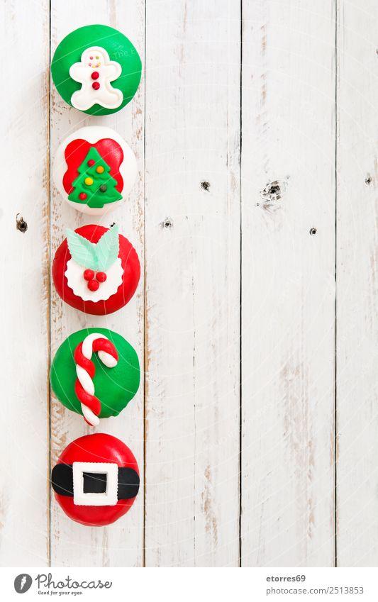 Christmas cupcakes Food Cake Dessert Candy Christmas & Advent Good Sweet Green Red White Cupcake Seasons Christmas tree Candy cane Sugar Gingerbread man