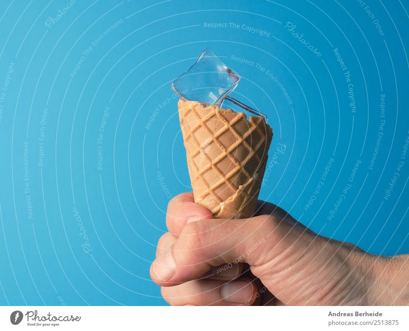 ice cream cones with ice cubes, cooling, refreshment Food Ice cream Drinking water Climate Warmth Cool (slang) Refreshment Cold drink Refrigeration Ice cube