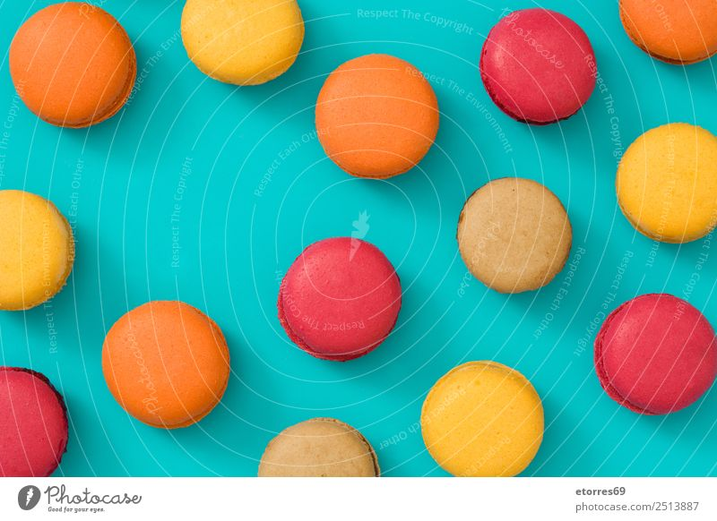 French macarons Food Cake Dessert Candy Breakfast Good Sweet Blue Brown Yellow Orange Red Turquoise Colour Food photograph Baked goods Macaron Sugar Home-made