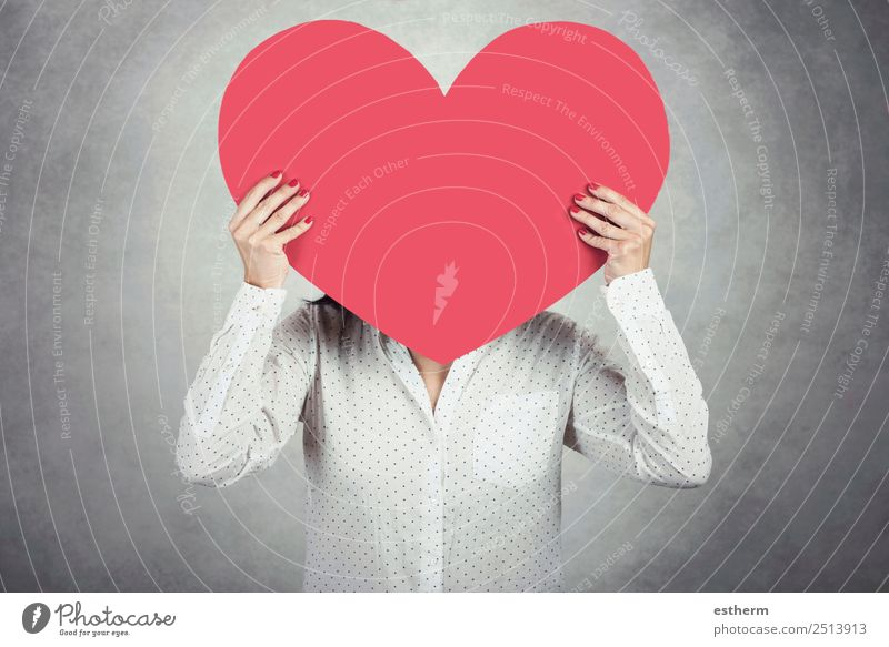 Young Woman holding red heart Lifestyle Valentine's Day Mother's Day Human being Feminine Young woman Youth (Young adults) Adults 1 30 - 45 years Heart