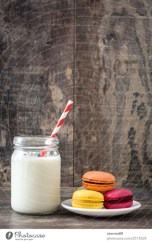 Macarons and milk glass Food Dish Food photograph Baked goods Cake Dessert Healthy Eating Decoration Wood Delicious Sweet Candy Pink Colour Tradition French